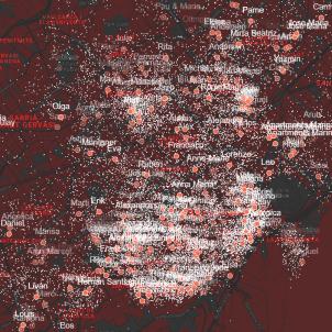 Mapa de Airbnb a febrer 2017 / Dwarshuis