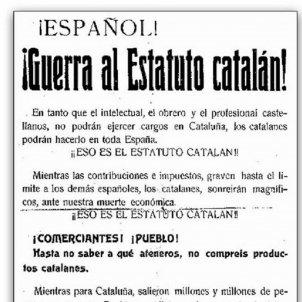 Guerra al Estatuto Catalán. Pasquí anti Estatut. Font Viquipèdia