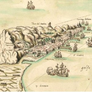 Els catalans conquereixen Gibraltar. Gravat de Gibraltar. 1704. Font The people of Gibraltar