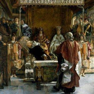 Signatura del Decret d'Expulsió. Els Reis Catòlics. Representació d'Emili Sala i Francés. Font Arxiu d'El Nacional