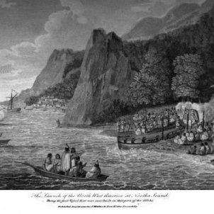 Perés i Crespí, els primers europeus que visiten la costa nord oest de Canadà. Representació de la tribu Nootka. Font Arxiu d'El Nacional