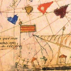 El navegant Jaume Ferrer explora les illes Canàries. Representació de l'uixer de Ferrer. Atles Català. Font Wikimedia Commons