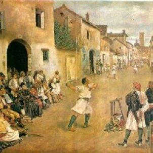 S'inaugura el Trinquet de Pelai. Representació pictòrica joc de pilota al carrer. Segle XIX. Font Viquipèdia