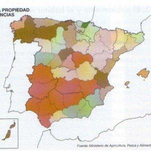 Els liberals espanyols donen un cop esteril al sistema latifundista. Distribució propietat agrària segle XIX. Font Xtec