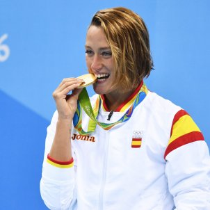 Mireia Belmonte podium campiona olímpica or Jocs Olímpics Rio 2016 Efe