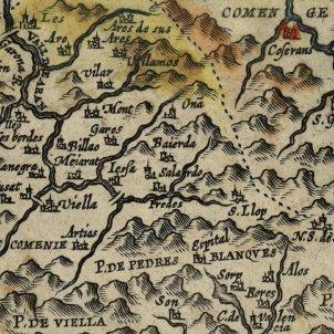 El Conselh Generau d'Aran es reuneix per darrera vegada. Mapa parcial de Catalunya. Aran, 1608. Font Wikipedia