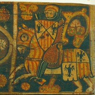 Representació d'un cavaller de la casa d'Anjou abatut per un cavaller de la casa de Barcelona. Font Museu Nacional d'Art de Catalunya