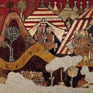 L'estol conqueridor de Mallorca es fa a la mar. Representació mural del campament de Jaume I. Font Enciclopedia