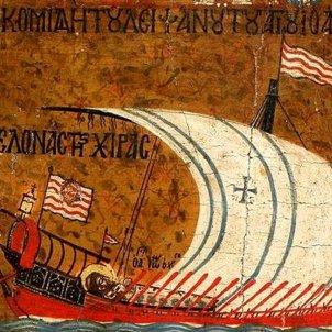 Batalla de Ceuta. Representació d'una galera catalana. Font Wikipedia