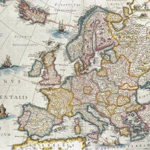 Catalunya i França signen una aliança contra Espanya. Mapa de Jan Vriens (1650). Font Arxiu El Nacional
