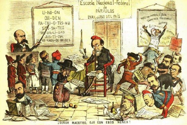 Caricatura coetánea de la Revolución federalista. 1873. Fuente Archivo de ElNacional