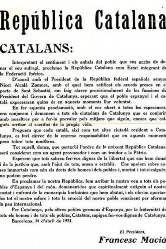 Edict of the Catalan Republic Macià. Font Wikimedia commons