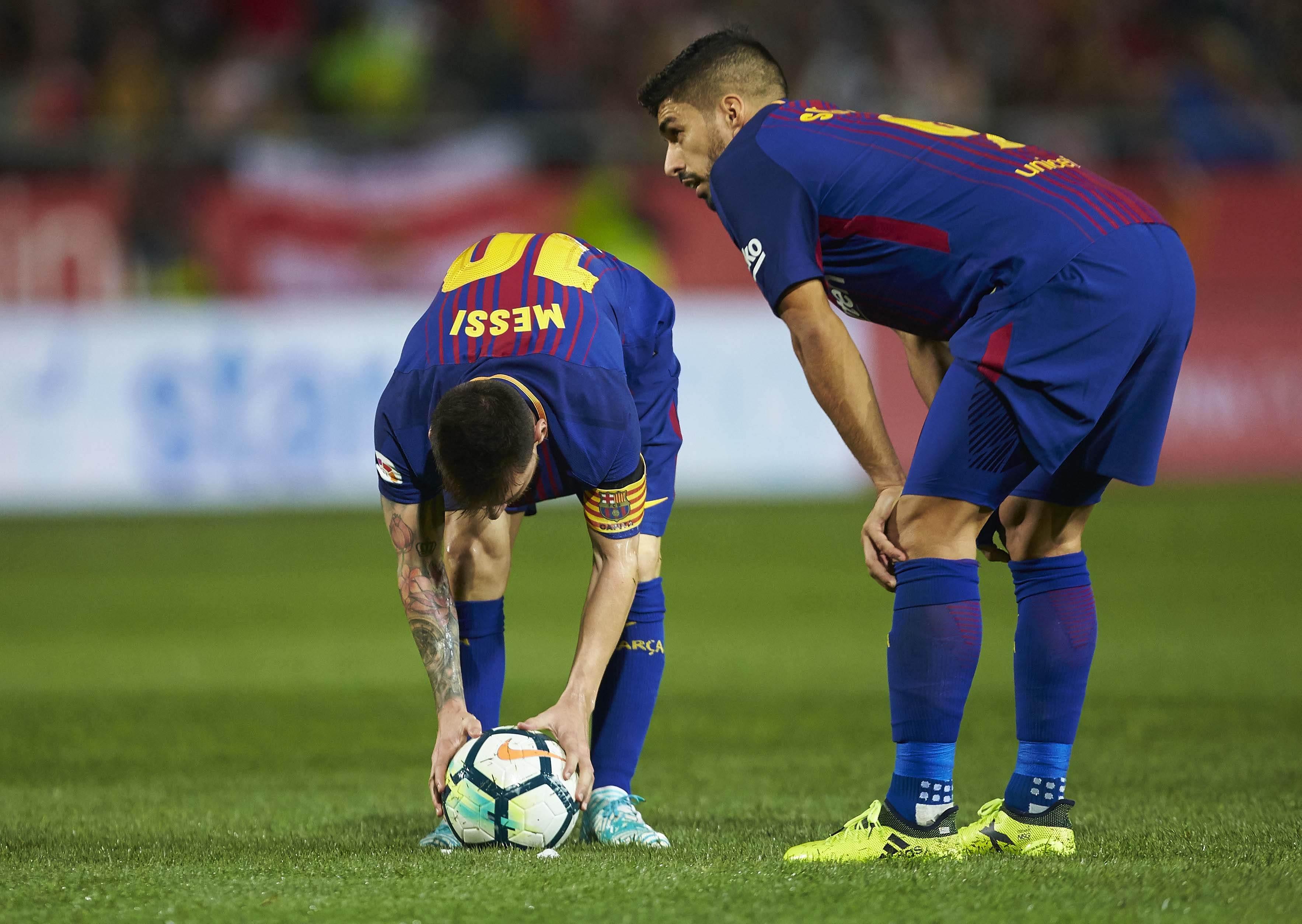 Leo Messi Luis Suarez falta Girona Barça   EFE