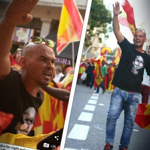 Spain supporters fascist salutes before independence demo Mail Online GRAN