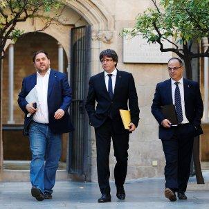 Puigdemont Junqueras Turull reunio Govern 10-O - Efe
