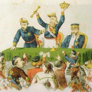 Caricatura d'čpoca. Prim, Serrano i Topete subasten les joies de la corona després del derrocament d'Isabel II. Font Viquipčdia