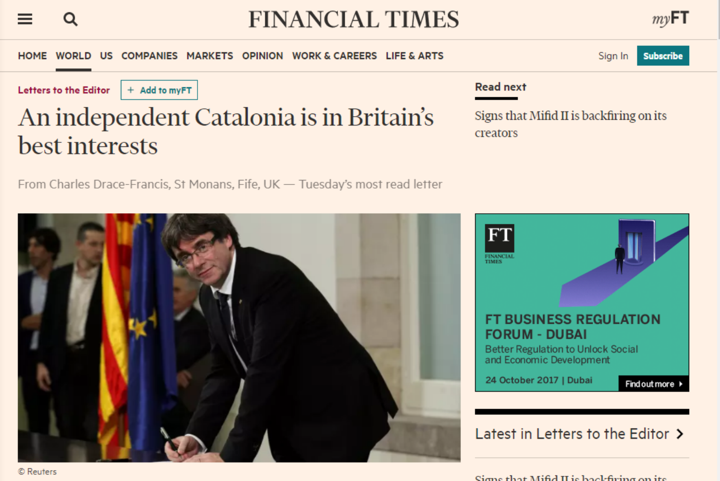 Carta Financial Times exdiplomàtic
