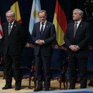 Antonio Tajani, Donald Tusk i Jean-Claude Juncker Premi Asturias - EFE