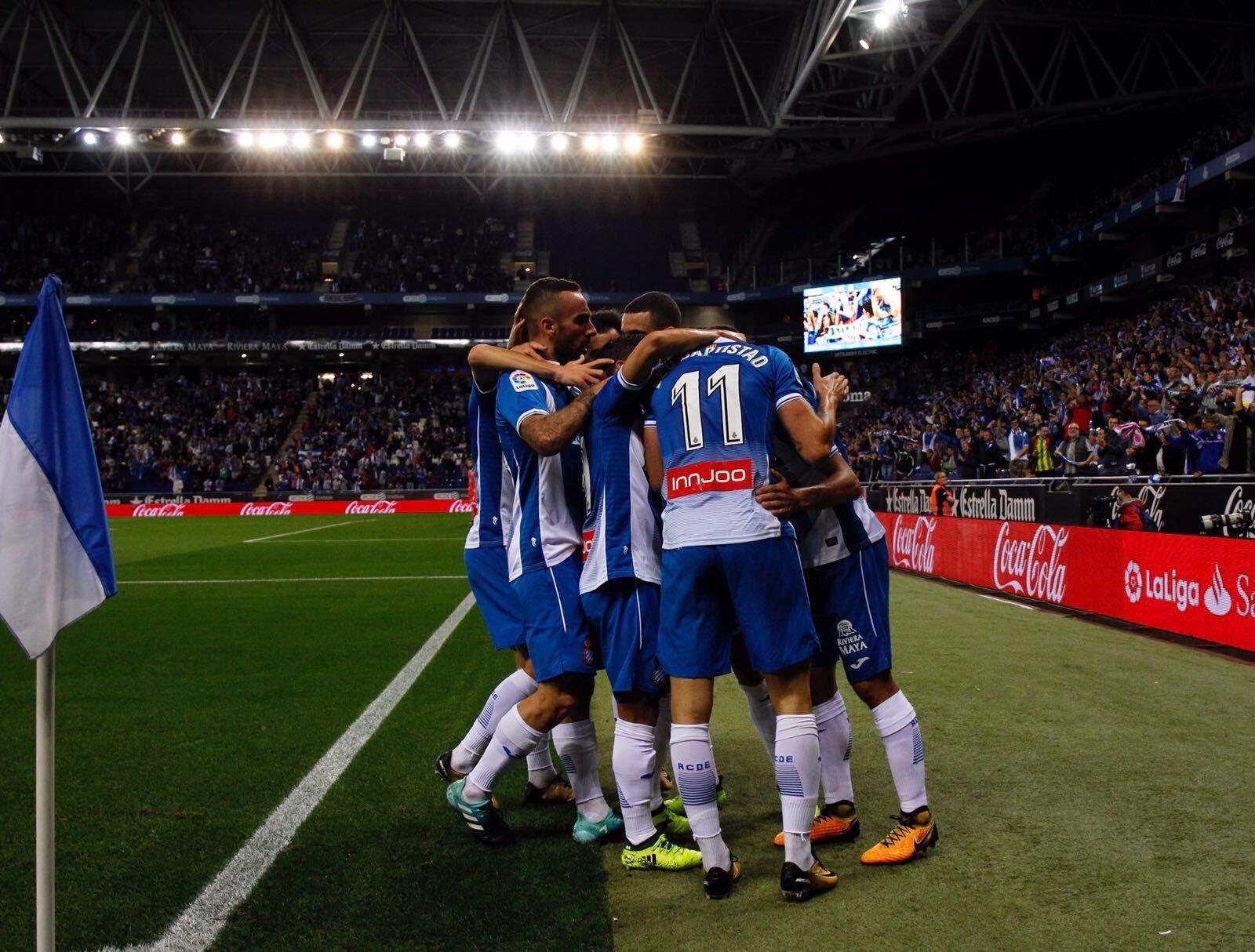 Celebració gol Espanyol RCDE Stadium   RCDE