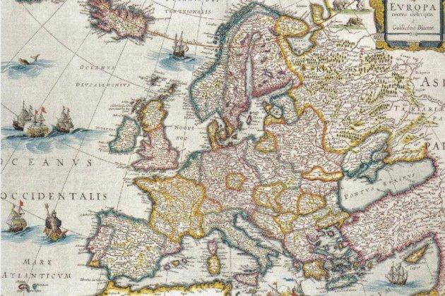 Mor Joan IV, restaurador de la independència portuguesa. Mapa d'Europa. Amsterdam, 1650. Cartograf Jan Blaeu. Font Arxiu d'El Nacional