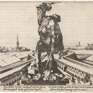 Caricatura coetània. El duc d'Alba després d'arrassar Flandes (1573). Font Wikimedia Commons