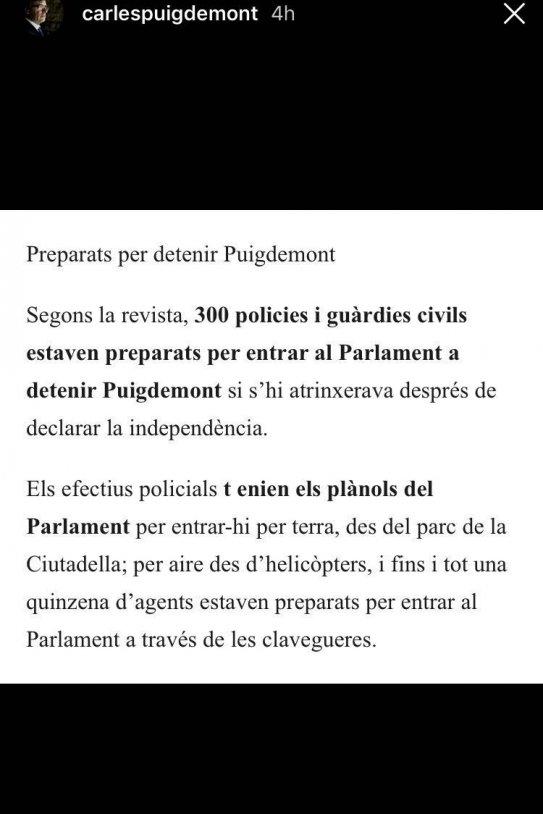Puigdemont interviu instagram