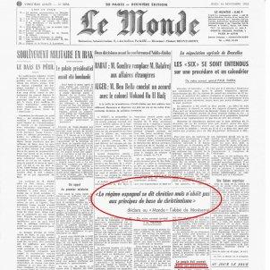 L'abat de Montserrat denuncia internacionalment la repressió franquista. Portada Le Monde 14 11 63. Font Le Monde