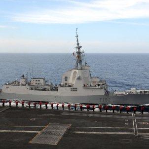 US Navy 110608 N QL471 782 Sailors aboard the aircraft carrier USS George H.W. Bush (CVN 77) salute the Spanish navy frigate ESPS Almirante Juan De