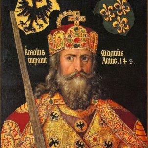 Entronitzen Carlemany, creador dels comtats catalans. Representació contemporània. Dürer (1512). Font Wikipedia France