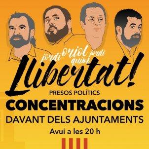 concentracions ajuntaments Junqueras, Forn i Jordis   Twitter @assemblea