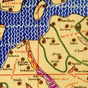 Tortosa s'incorpora a la història de Catalunya. Fragment del mapa mundi d'Al Idrissi (1154). Font blog Ilercavònia