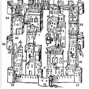 Els exercits borbonics massacren Vila real. Pląnol de Vila real (1562). Font Vilapčdia.wikis