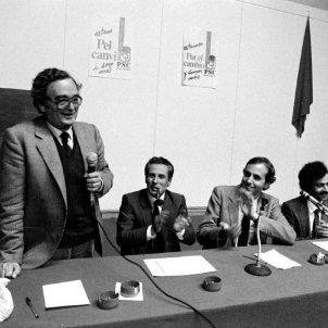 Mor Joan Reventós, els socialistes assumim el dret del nostre poble a l'autodeterminació. Raventós, Molas, Obiols i Marcet. Font Fundació Rafel Campalans