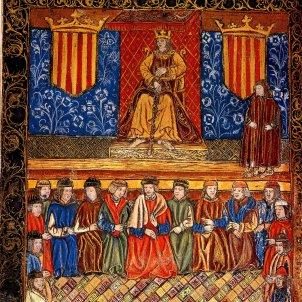 Ferran d'Aragó a les Corts Catalanes. Miniatura 1495 Wikipedia