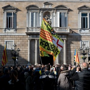 13laura gomez manifestacio en suport a puigdemont plaça sant jaume