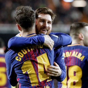 Gol Coutinho Valencia Barça Copa Mestalla Messi   EFE