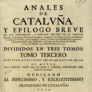Mor Feliu de la Penya  Catalunya, la Holanda de la Mediterrània. Portada dels Anals de Catalunya. Font Museu d'Història de Catalunya
