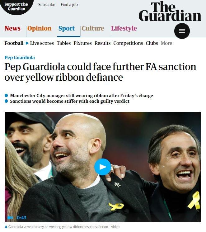 The Guardian Pep Guardiola yellow bow Capture screen