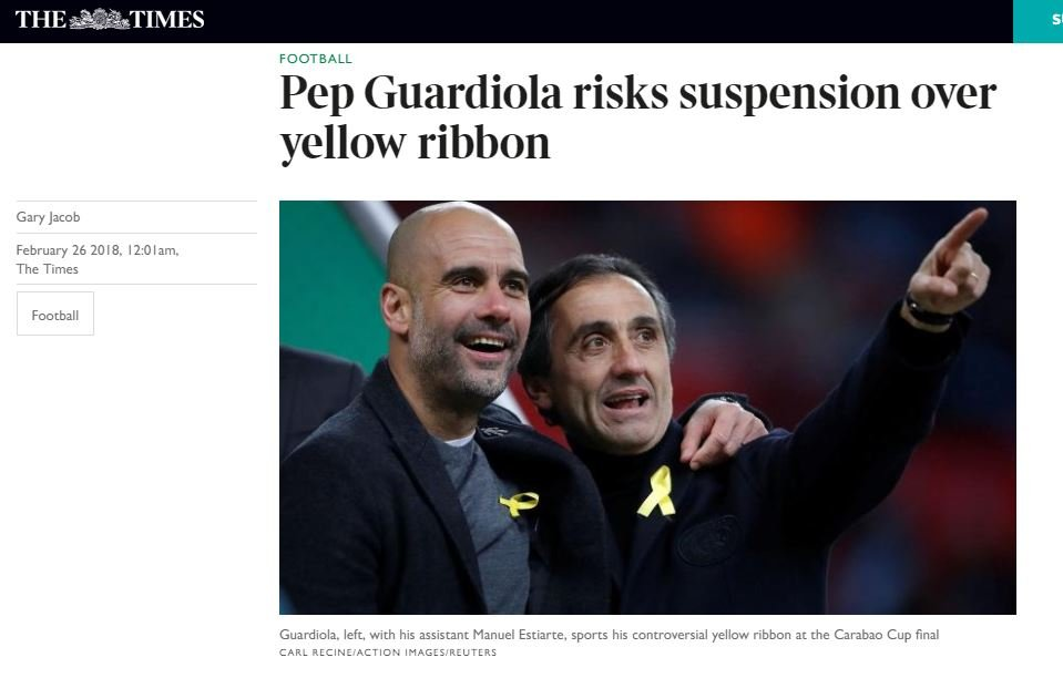 The Times Pep Guardiola yellow bow Capture screen