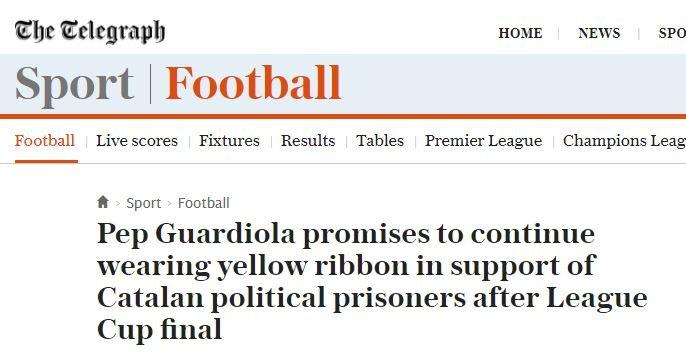 The Telegraph Pep Guardiola yellow bow Capture screen