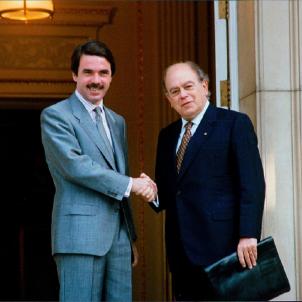 Les eleccions que van portar als Pactes del Majestic. Aznar i Pujol, signants del Pacte del Majestic. Font Viquipèdia