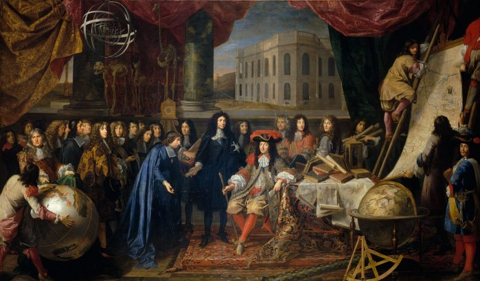 La corte de Versalles. Academie des Sciencies (1667). Retrato coetáneo de Henri Testelin. Font Musée Nationale du Château. Versalles