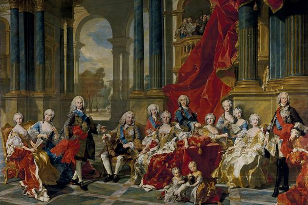 La familia de Felipe V (1743). Felipe V se el cuarto por la izquierda. Retrato coetáneo de Louis Van Loo. Font Museo del Prado. Madrid