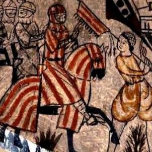 Els Almogàvers s'apoderen del ducat d'Atenes. Pintura coetània Almogàvers (2).  Font Fundació Carulla