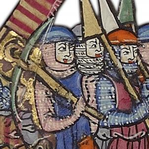 Els Almogàvers s'apoderen del ducat d'Atenes. Pintura coetània Almogàvers. Font Museu d'Història de Catalunya