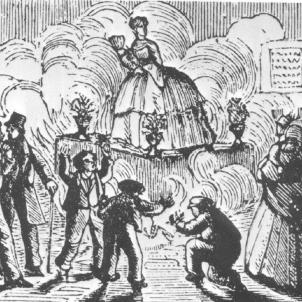 Primera cremà de falles documentada. Primera representació gràfica de les falles (1860). Font Blog Vespradefesta