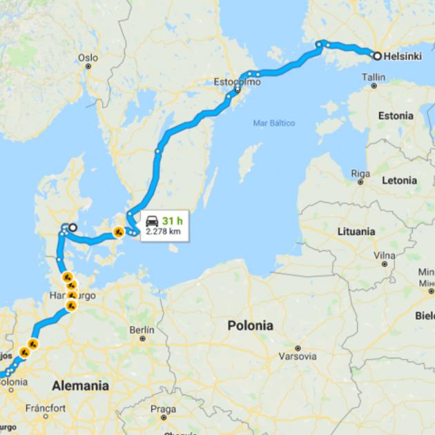 mapa viatge puigdemont finlandia alemanya