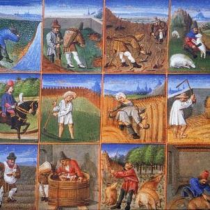 Ferran el Catòlic executa Pere Sala, cap de la Revolució Remença. Calendari pagès francès. Segle XV. Font Wikipedia France