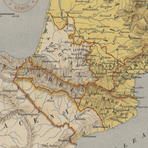 L'emperador Carlemany incorpora Barcelona als seus dominis. Mapa de la reigó pirinenca a principis del segle IX. Font Wikipedia