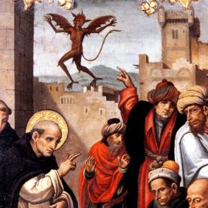 Mor sant Vicent Ferrer, el predicador de l'Apocalípsi. Retaule coetani. Mestre del Grifó.  Font Museu de Belles Arts. Valčncia